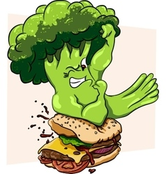 Broccoli vs burger healthy food fast vector