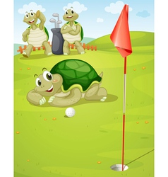 Tortoise golf vector image