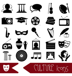 Culture and art theme black simple icons set eps10 vector