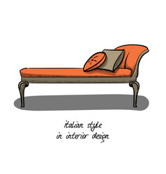 a small sofa without a backrest in pink and gray vector image vector image