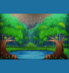 background scene with forest in the rain vector image vector image