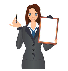 Business woman holds a pen to sign a contract vector