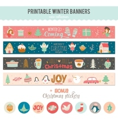 Cute Christmas Cards and Stickers vector image vector image