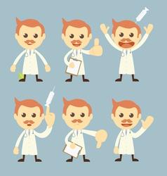 doctor character set cartoon vector image vector image