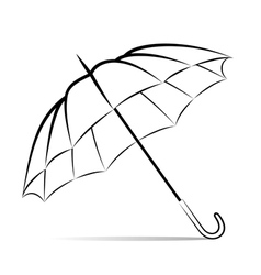 drawing umbrella on white background vector image vector image
