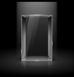Empty glass showcase with spot light for vector