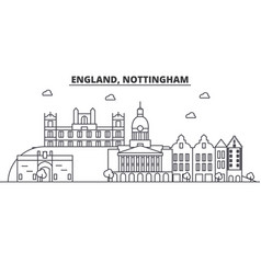 England nottingham architecture line skyline vector
