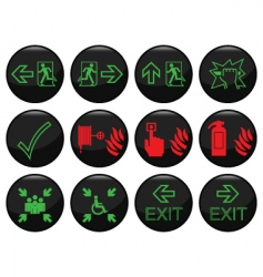 fire exit icons vector image vector image