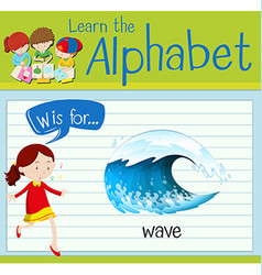 Flashcard letter W is for wave vector image vector image