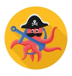 Flat icon octopus pirate vector