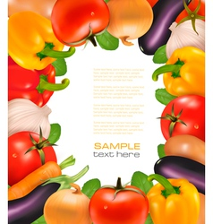 Frame made of colorful fresh vegetabless vector image