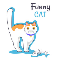 Funny cat with fish bone vector