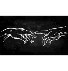 God and adams hands vector
