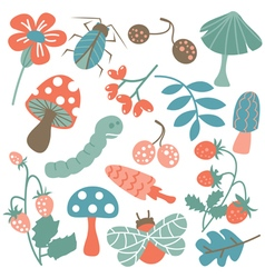 Nature colorful collection of childish characters vector