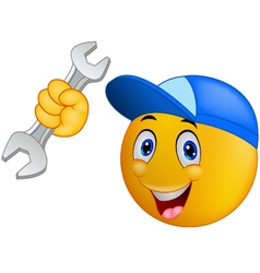 Repairman emoticon smiley vector image