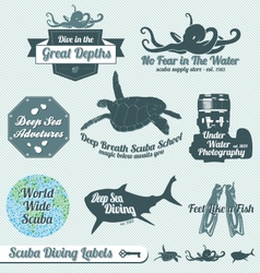 Scuba diving labels vector