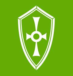 Shield icon green vector