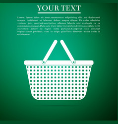 Shopping basket icon isolated on green background vector