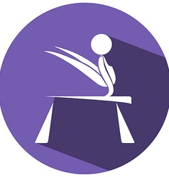 Sport icon for gymnastics on round badge vector image vector image