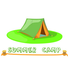 Summer camp tent on green lawn camp tent vector