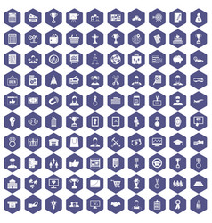 100 business career icons hexagon purple vector