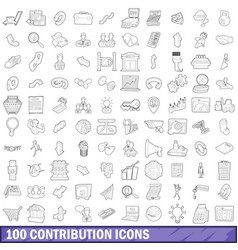 100 contribution icons set outline style vector