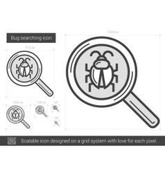 Bug searching line icon vector