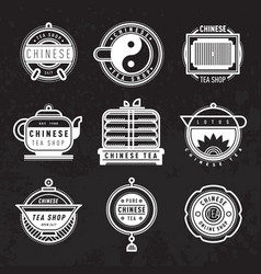 Chinese oriental tea shop badges vector