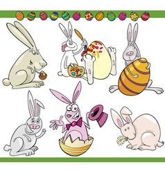 Easter bunnies set cartoon vector