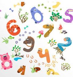 Numbers like farm animals seamless pattern vector image