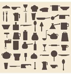Cooking items types silhouette icons set perfect vector