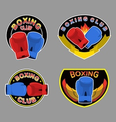 Set boxing emblem boxing gloves in embem vector