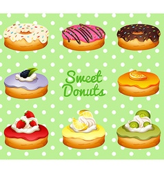Different flavor of donuts vector