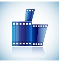 Curled blue cinema tape film human hand with thumb vector