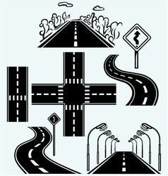 Road symbols with winding highways vector