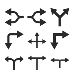 Junction arrows flat icon set vector