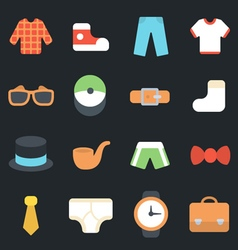 Mens clothes and accessories flat icons vector