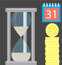 Money is time Hourglass and golden coin stock vector image