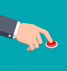 a hand in suit press button - vector image