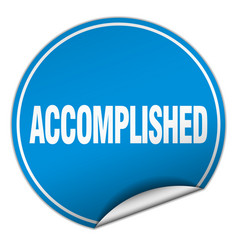 Accomplished round blue sticker isolated on white vector