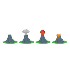 cartoon color volcano erupting set vector image