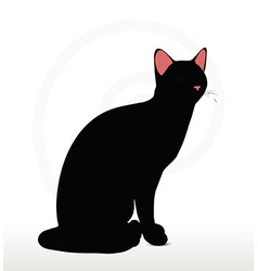 Cat silhouette in sitting pose vector