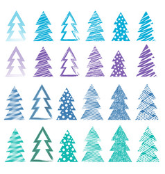 christmas and new year trees set vector image vector image