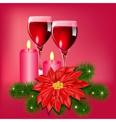 Christmas Wine Candles Card vector image vector image