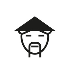 countryman in asian hat icon on white background vector image vector image