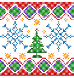 cross stitch embroidery christmas design for vector image vector image