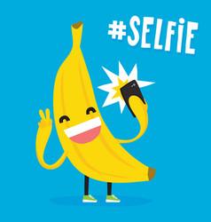 Cute kawaii banana taking selfie vector