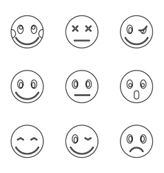Emoticons for messages icons set outline style vector image