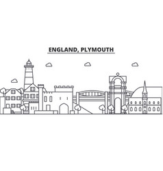 England plymouth architecture line skyline vector