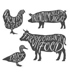 Farm animals icon set chicken cow duck pig vector